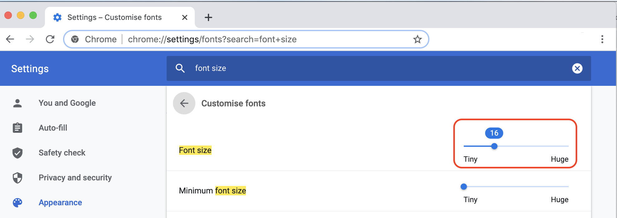 Font Size Setting in Chrome Browser