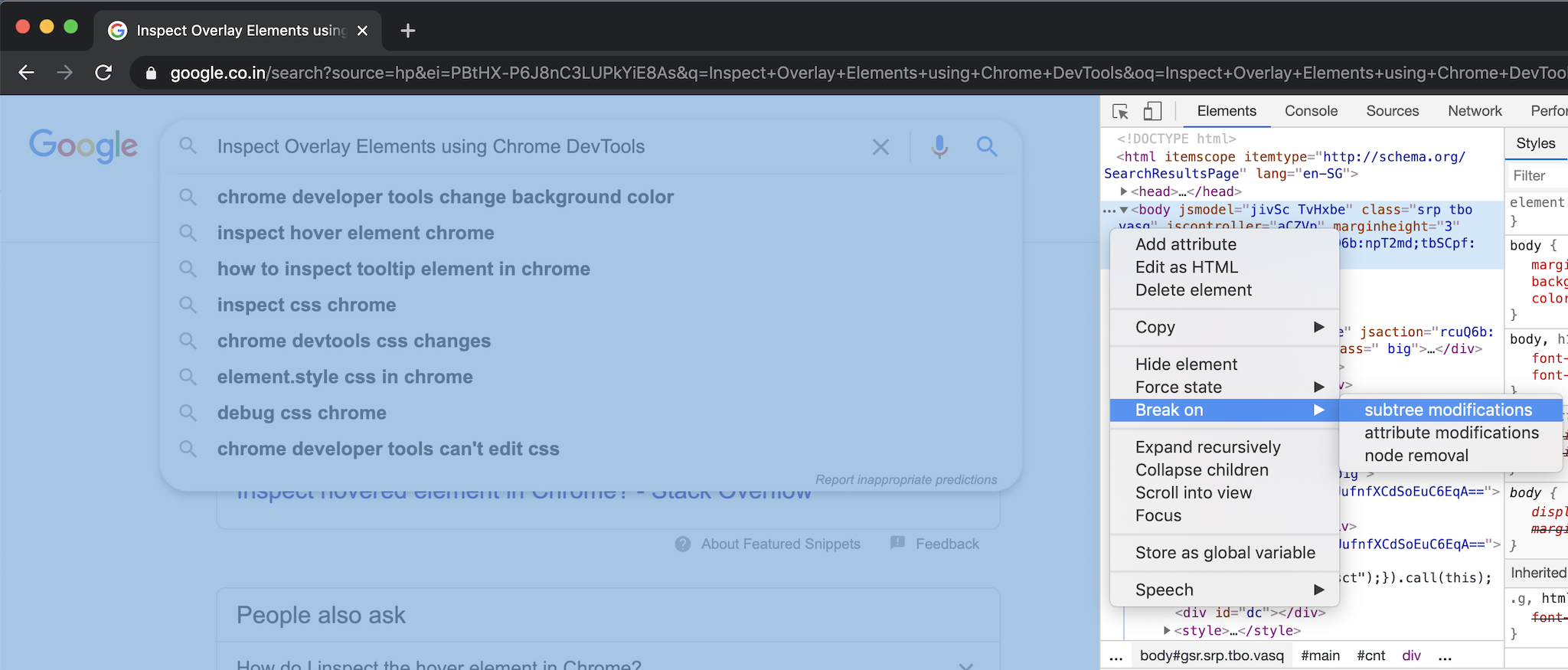 Chrome DevTool Break on Subtree Modifications